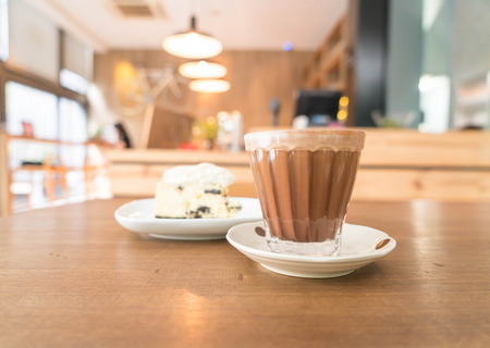 mocha: hot mocha coffee in shop