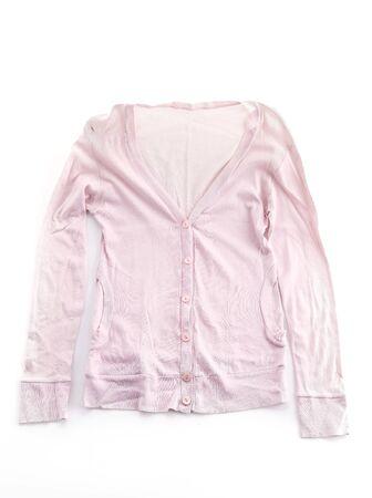 cardigan: pink cardigan on white background