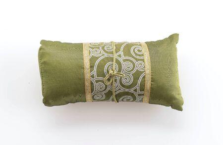 throw cushion: silk pillow on white background