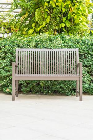 empty bench: empty bench in park Stock Photo