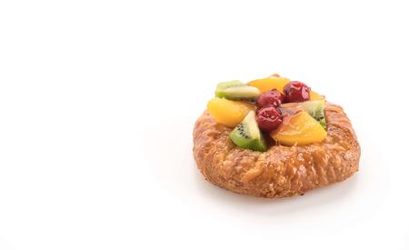 mixed fruits: mixed fruits danish on white background