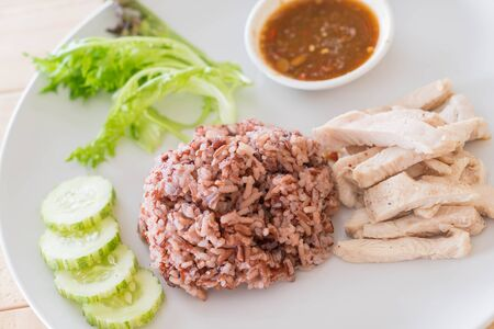 clean food: Steamed chicken with rice berry - healthy food style