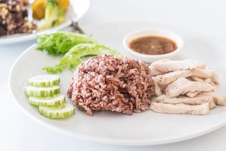nonfat: Steamed chicken with rice berry - healthy food style