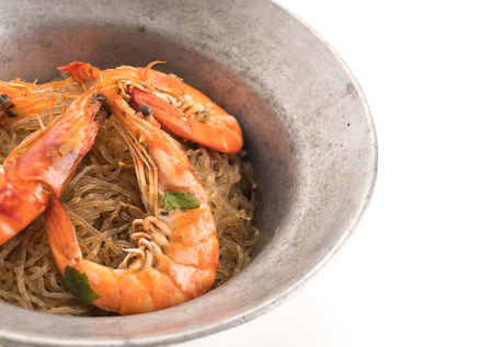 vermicelli: Shrimp potted with vermicelli on white
