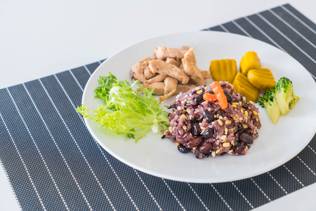 nonfat: grain with rice berry and roast pork - healthy food style