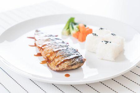 fish sauce: Grilled Saba with fish sauce Stock Photo