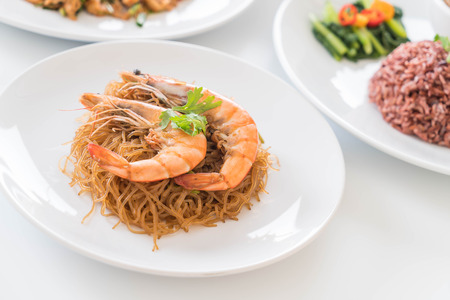 vermicelli: Shrimp potted with vermicelli Stock Photo
