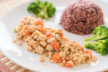 lowfat: Stir Fried Minced Chicken and Carrot with Berry Rice - low-fat food