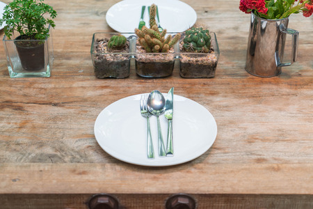 ware house: table set on wooden dinning table Stock Photo