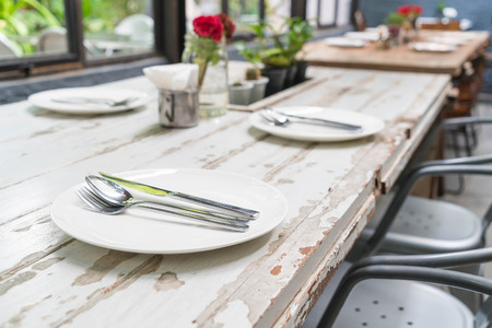 dinning table: table set on wooden dinning table Stock Photo