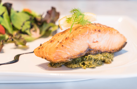 salmon steak: Salmon steak grilled with lemon