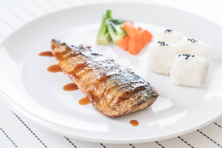 saba: Grilled Saba with fish sauce Stock Photo