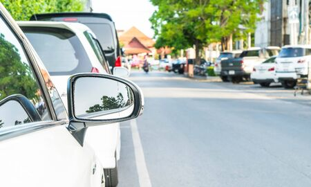 rearview: side rear-view mirror on a modern car