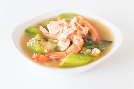 sod: Thai Spicy Mixed Vegetable Soup with Prawns (Kang Liang Goong Sod )