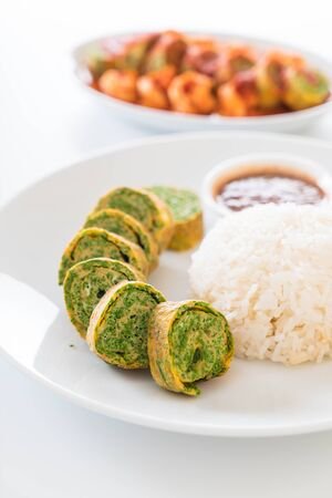 pennata: Acacia Pennata Omelette and Chili Paste with Rice