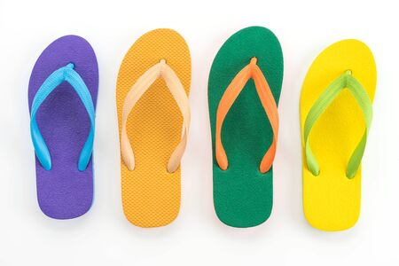 Rubber slippers on white background Stock Photo