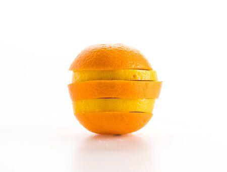 lime, lemon and orange slices on white background