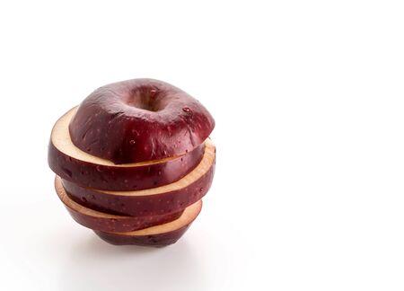 sliced apple: Sliced apple on white background