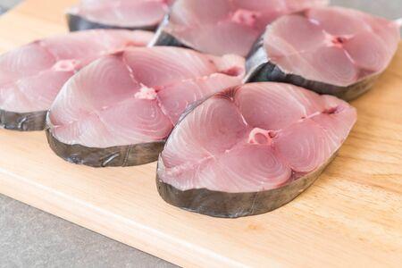 seer: Fresh Mackerel Steak on wood board