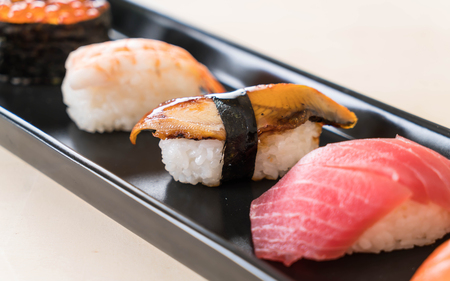 eel sushi with mixed sushi set - japanese food Stock Photo