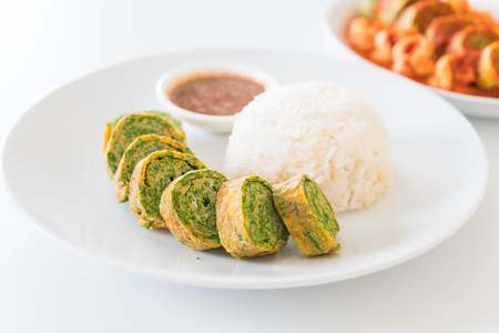 Acacia Pennata Omelette and Chili Paste with Rice