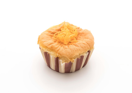 vanilla cup cake with fruit on top on white background