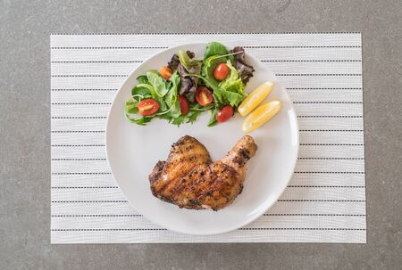 dinning table: thigh chicken steak on dinning table