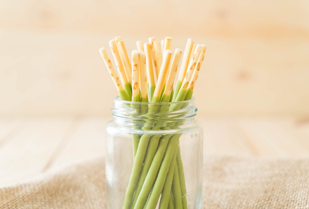 flavored: biscuit stick with green tea flavored Stock Photo