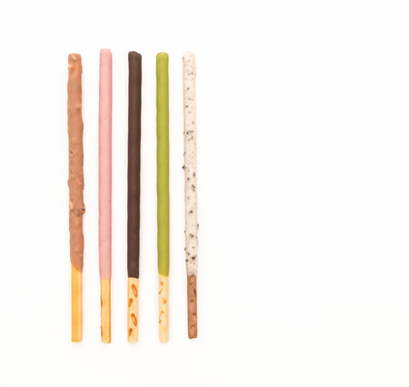 flavored: biscuit stick with mixed flavored on white background Stock Photo