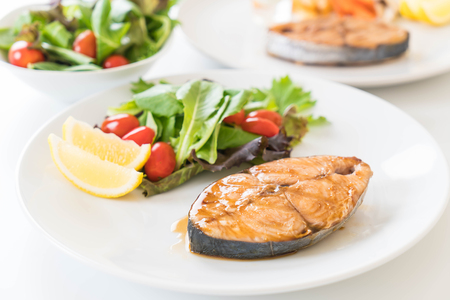 teriyaki grilled mackerel fish steak Stock Photo