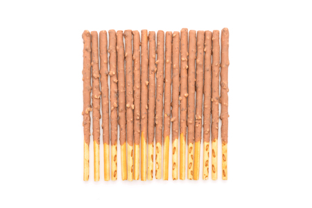 flavored: biscuit stick with almond flavored on white background