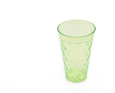 ware: Green Plastic cup on white background