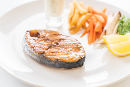 king salmon: teriyaki grilled mackerel fish steak Stock Photo