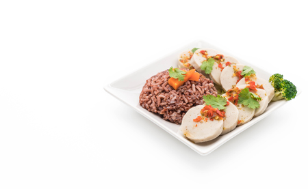 clean food: preserved pork sausage and spicy sauce with berry rice - clean food