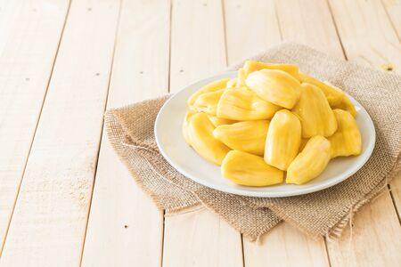 fresh jackfruit on wood background