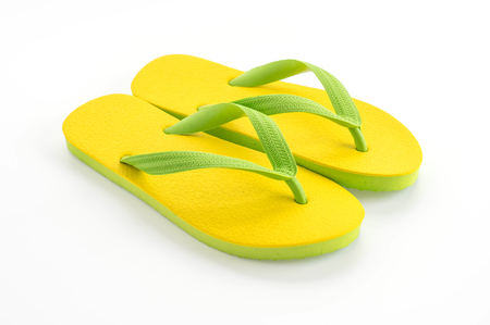 Rubber slippers on white background 스톡 콘텐츠