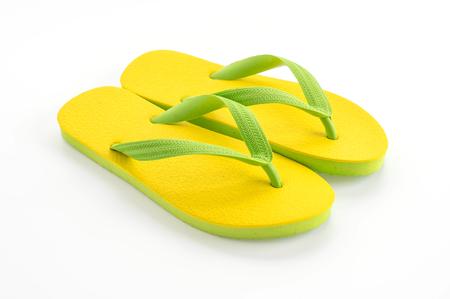 Rubber slippers on white background Standard-Bild