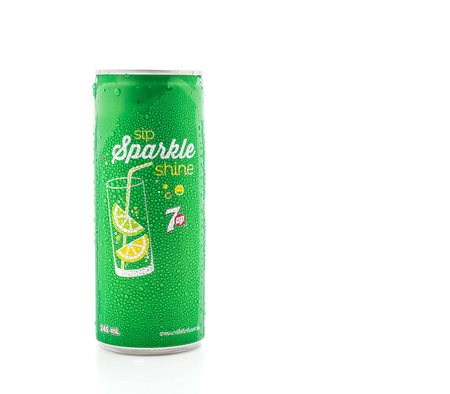 dewed: Bangkok ,Thailand - July 14, 2016: 7 UP can on white background. This refreshment drink produce Pepsi company.