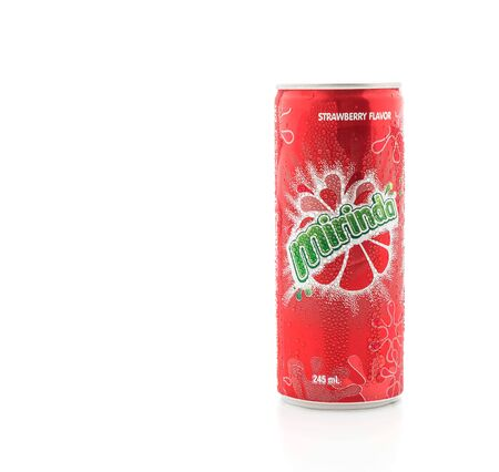 famous industries: Bangkok ,Thailand - July 14, 2016: Mirinda on white background. Mirinda is a brand of soft drink originally created in Spain, with global distribution. Editorial