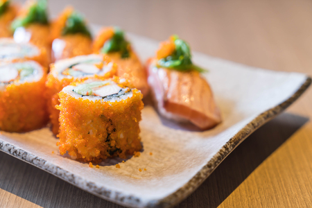 salmon sushi and salmon maki - japanese food