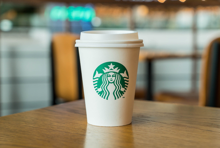 Bangkok ,Thailand-July 6 : Starbucks Hot beverage coffee on table on 6 July 2016 at The mall department store, Bangkok, Thailand.