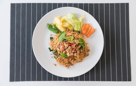 rice plate: stir-fried noodle with pork and basil