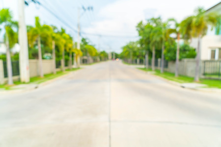 abstract blur image of road with house in the village