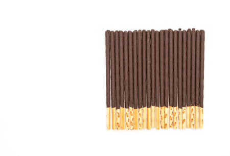 chocolate biscuit: biscuit stick with chocolate flavored on white background