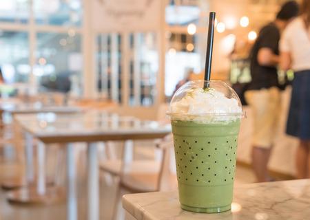 frappe: green tea frappe in cafe