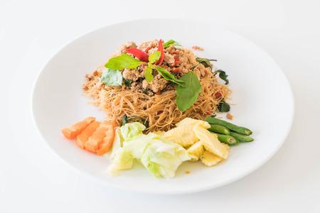 stir-fried noodle with pork and basil
