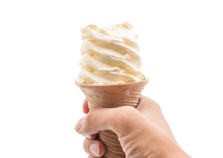 icecream cone: vanilla ice-cream cone on white background