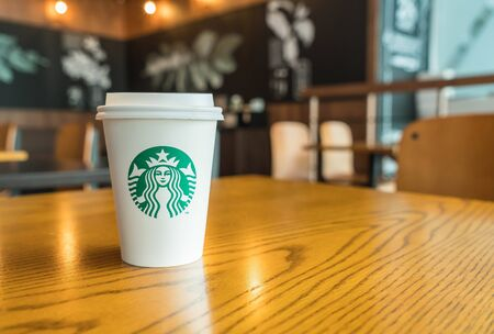 Bangkok ,Thailand-July 6 : Starbucks Hot beverage coffee on table on 6 July 2016 at The mall department store, Bangkok, Thailand.