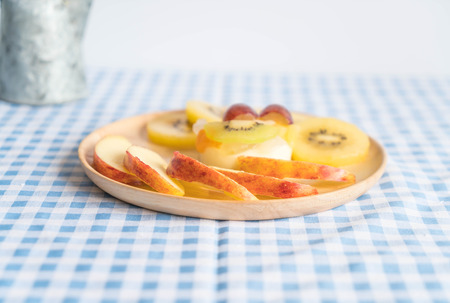 pudding fruits with kiwi and apple on table Stock Photo