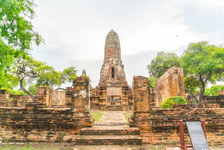 beautiful old architecture historic of Ayutthaya in Thailand - boost up color processing style